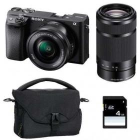 Sony Alpha 6400 Body Black + SEL E PZ 16-50 mm f/3,5-5,6 OSS + SEL E 55-210 mm f/4.5-6.3 OSS + Bag + SD 4 Go   2 Years Warranty