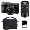 Sony Alpha 6400 Body Black + SEL E PZ 16-50 mm f/3,5-5,6 OSS + SEL E 55-210 mm f/4.5-6.3 OSS + Bag + SD 4 Go | 2 Years Warranty