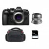 Olympus OM-D E-M1 Mark II Black + M.ZUIKO ED 12 mm f/2 Silver + Bag + 4 Go | 2 Years Warranty