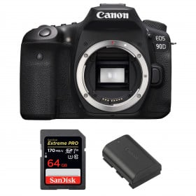 Canon EOS 90D Body + SanDisk 64GB Extreme PRO UHS-I SDXC 170 MB/s + Canon LP-E6N | 2 Years Warranty