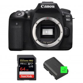 Canon EOS 90D Body + SanDisk 64GB Extreme PRO UHS-I SDXC 170 MB/s + 2 Canon LP-E6N | 2 Years Warranty