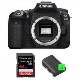 Canon EOS 90D Cuerpo + SanDisk 64GB Extreme PRO UHS-I SDXC 170 MB/s + 2 Canon LP-E6N | 2 años de garantía