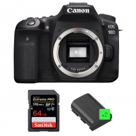 Canon EOS 90D Nu + SanDisk 64GB Extreme PRO UHS-I SDXC 170 MB/s + 2 Canon LP-E6N