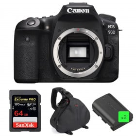 Canon EOS 90D Body + SanDisk 64GB Extreme PRO UHS-I SDXC 170 MB/s + 2 Canon LP-E6N + Camera Bag | 2 Years Warranty
