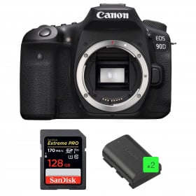 Canon EOS 90D Body + SanDisk 128GB Extreme PRO UHS-I SDXC 170 MB/s + 2 Canon LP-E6N | 2 Years Warranty
