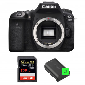 Canon EOS 90D Nu + SanDisk 128GB Extreme PRO UHS-I SDXC 170 MB/s + 2 Canon LP-E6N