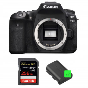 Canon EOS 90D Body + SanDisk 256GB Extreme PRO UHS-I SDXC 170 MB/s + 2 Canon LP-E6N | 2 Years Warranty