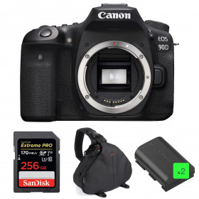 Canon EOS 90D Cuerpo + SanDisk 256GB Extreme PRO UHS-I SDXC 170 MB/s + 2 Canon LP-E6N + Bolsa | 2 años de garantía