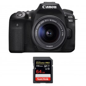 Canon EOS 90D + 18-55mm F/3.5-5.6 EF-S IS STM + SanDisk 64GB Extreme PRO UHS-I SDXC 170 MB/s | 2 Years Warranty