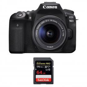 Canon EOS 90D + 18-55mm F/3.5-5.6 EF-S IS STM + SanDisk 64GB Extreme PRO UHS-I SDXC 170 MB/s