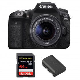 Canon EOS 90D + 18-55mm F/3.5-5.6 EF-S IS STM + SanDisk 64GB Extreme PRO UHS-I SDXC 170 MB/s + Canon LP-E6N | 2 Years Warranty