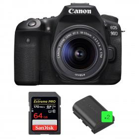 Canon EOS 90D + 18-55mm IS STM + SanDisk 64GB Extreme PRO UHS-I SDXC 170 MB/s + 2 Canon LP-E6N | 2 años de garantía
