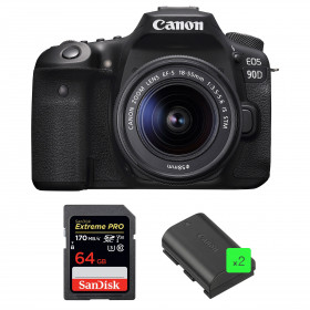 Canon EOS 90D + 18-55mm IS STM + SanDisk 64GB Extreme PRO UHS-I SDXC 170 MB/s + 2 Canon LP-E6N | 2 Years Warranty