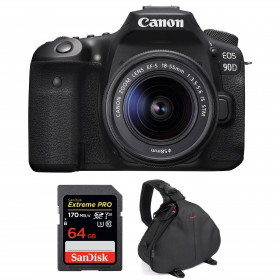 Canon EOS 90D + 18-55mm F/3.5-5.6 EF-S IS STM + SanDisk 64GB Extreme PRO UHS-I SDXC 170 MB/s + Bag | 2 Years Warranty