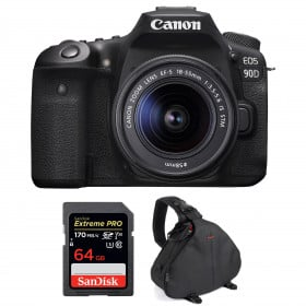 Canon EOS 90D + 18-55mm F/3.5-5.6 EF-S IS STM + SanDisk 64GB Extreme PRO UHS-I SDXC 170 MB/s + Bolsa