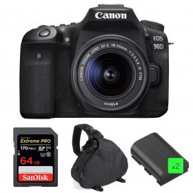 Canon EOS 90D + 18-55mm IS STM + SanDisk 64GB Extreme PRO UHS-I SDXC 170 MB/s + 2 Canon LP-E6N + Sac