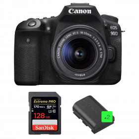 Canon EOS 90D + 18-55mm IS STM + SanDisk 128GB Extreme PRO UHS-I SDXC 170 MB/s + 2 Canon LP-E6N | 2 Years Warranty