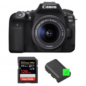 Canon EOS 90D + 18-55mm IS STM + SanDisk 128GB Extreme PRO UHS-I SDXC 170 MB/s + 2 Canon LP-E6N