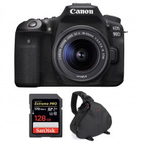 Canon EOS 90D + 18-55mm F/3.5-5.6 EF-S IS STM + SanDisk 128GB Extreme PRO UHS-I SDXC 170 MB/s + Bolsa