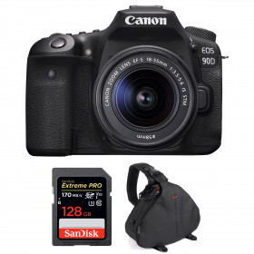 Canon EOS 90D + 18-55mm F/3.5-5.6 EF-S IS STM + SanDisk 128GB Extreme PRO UHS-I SDXC 170 MB/s + Bolsa | 2 años de garantía