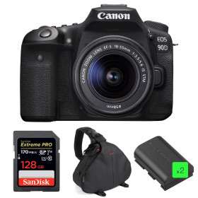 Canon EOS 90D + 18-55mm IS STM + SanDisk 128GB Extreme PRO UHS-I SDXC 170 MB/s + 2 Canon LP-E6N + Sac