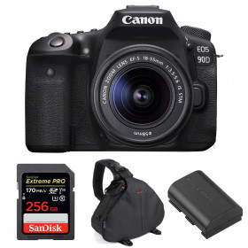 Canon EOS 90D + 18-55mm IS STM + SanDisk 256GB Extreme PRO UHS-I SDXC 170 MB/s + Canon LP-E6N + Sac