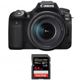 Canon EOS 90D + 18-135mm f/3.5-5.6 IS USM + SanDisk 64GB Extreme PRO UHS-I SDXC 170 MB/s | 2 años de garantía