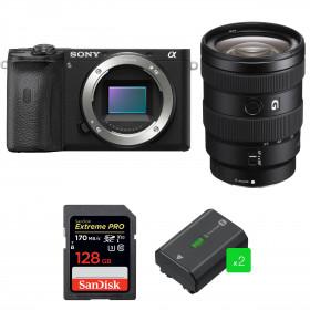 Sony ALPHA 6600 + Sony E 16-55mm f/2.8 G + SanDisk 128GB Extreme PRO UHS-I SDXC 170 MB/s + 2 Sony NP-FZ100