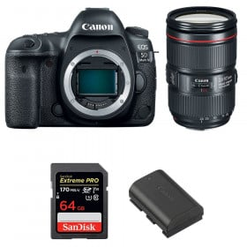 Canon EOS 5D Mark IV + EF 24-105mm f/4L IS II USM + SanDisk 64GB Extreme PRO UHS-I SDXC 170 MB/s + LP-E6N | 2 Years Warranty
