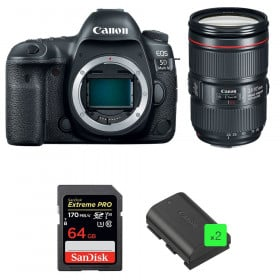 Canon EOS 5D Mark IV + EF 24-105mm f/4L IS II USM + SanDisk 64GB Extreme PRO UHS-I SDXC 170 MB/s + 2 LP-E6N | 2 años de garantía