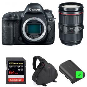 Canon EOS 5D Mark IV + EF 24-105mm f/4L IS II USM + SanDisk 64GB UHS-I SDXC 170 MB/s + 2 LP-E6N + Bolsa | 2 años de garantía
