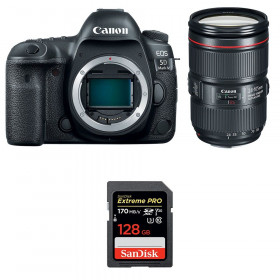 Canon EOS 5D Mark IV + EF 24-105mm f/4L IS II USM + SanDisk 128GB Extreme PRO UHS-I SDXC 170 MB/s | 2 Years Warranty