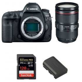 Canon EOS 5D Mark IV + EF 24-105mm f/4L IS II USM + SanDisk 128GB Extreme PRO UHS-I SDXC 170 MB/s + LP-E6N | 2 años de garantía