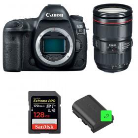 Canon EOS 5D Mark IV + EF 24-105mm f/4L IS II USM + SanDisk 128GB UHS-I SDXC 170 MB/s + 2 LP-E6N | 2 años de garantía