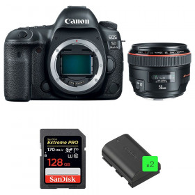 Canon EOS 5D Mark IV + EF 50mm f/1.2L USM + SanDisk 128GB Extreme PRO UHS-I SDXC 170 MB/s + 2 LP-E6N | 2 Years Warranty