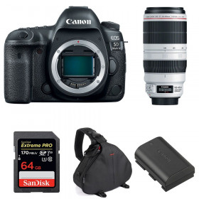 Canon EOS 5D Mark IV + EF 100-400mm f4.5-5.6L IS II USM + SanDisk 64GB UHS-I SDXC 170 MB/s + LP-E6N + Bag | 2 Years Warranty