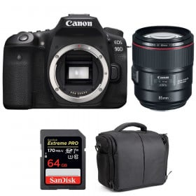 Canon EOS 90D + EF 85mm f/1.4L IS USM + SanDisk 64GB Extreme PRO UHS-I SDXC 170 MB/s + Bag | 2 Years Warranty