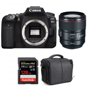 Canon EOS 90D + EF 85mm f/1.4L IS USM + SanDisk 128GB Extreme PRO UHS-I SDXC 170 MB/s + Bag | 2 Years Warranty