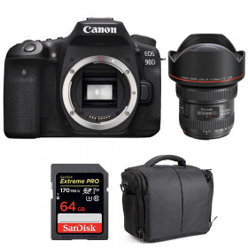 Canon EOS 90D + EF 11-24mm f/4L USM + SanDisk 64GB Extreme PRO UHS-I SDXC 170 MB/s + Bag | 2 Years Warranty
