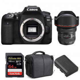 Canon EOS 90D + EF 11-24mm f/4L USM + SanDisk 64GB UHS-I SDXC 170 MB/s + LP-E6N + Bag | 2 Years Warranty