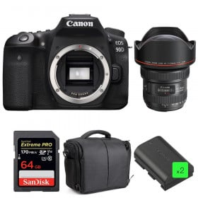 Canon EOS 90D + EF 11-24mm f/4L USM + SanDisk 64GB UHS-I SDXC 170 MB/s + 2 LP-E6N + Bag | 2 Years Warranty