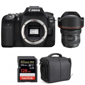 Canon EOS 90D + EF 11-24mm f/4L USM + SanDisk 128GB Extreme PRO UHS-I SDXC 170 MB/s + Bag | 2 Years Warranty