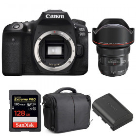 Canon EOS 90D + EF 11-24mm f/4L USM + SanDisk 128GB UHS-I SDXC 170 MB/s + LP-E6N + Bag | 2 Years Warranty