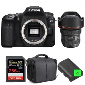 Canon EOS 90D + EF 11-24mm f/4L USM + SanDisk 256GB UHS-I SDXC 170 MB/s + 2 LP-E6N + Bag | 2 Years Warranty
