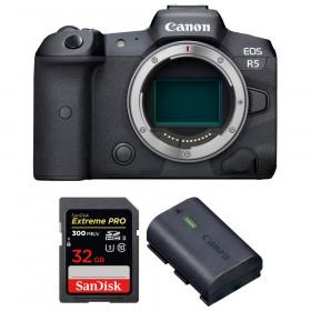Appareil photo hybride Canon R5 Nu + SanDisk 32GB Extreme PRO UHS-II SDXC 300 MB/s + Canon LP-E6NH