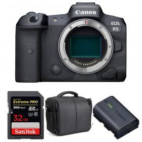 Appareil photo hybride Canon R5 Nu + SanDisk 32GB Extreme PRO UHS-II SDXC 300 MB/s + Canon LP-E6NH + Sac