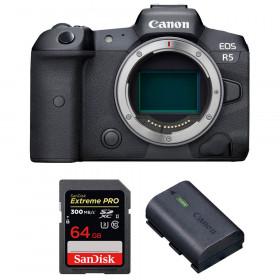 Appareil photo hybride Canon R5 Nu + SanDisk 64GB Extreme PRO UHS-II SDXC 300 MB/s + Canon LP-E6NH