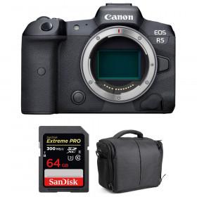 Appareil photo hybride Canon R5 Nu + SanDisk 64GB Extreme PRO UHS-II SDXC 300 MB/s + Sac