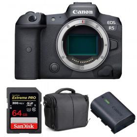 Appareil photo hybride Canon R5 Nu + SanDisk 64GB Extreme PRO UHS-II SDXC 300 MB/s + Canon LP-E6NH + Sac