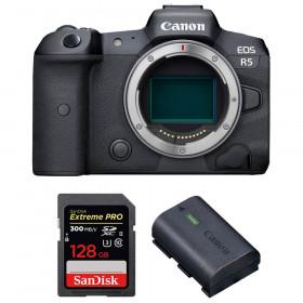 Appareil photo hybride Canon R5 Nu + SanDisk 128GB Extreme PRO UHS-II SDXC 300 MB/s + Canon LP-E6NH